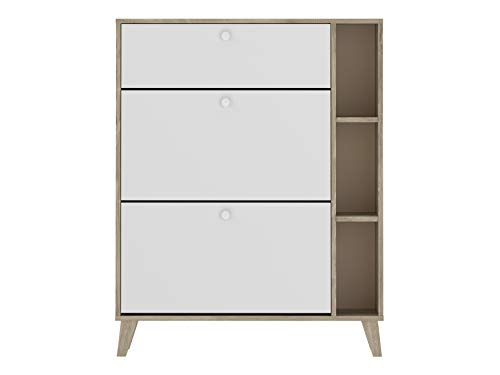AmazonBasics - Armario zapatero, 90 x 25 x 113,5 cm, blanco