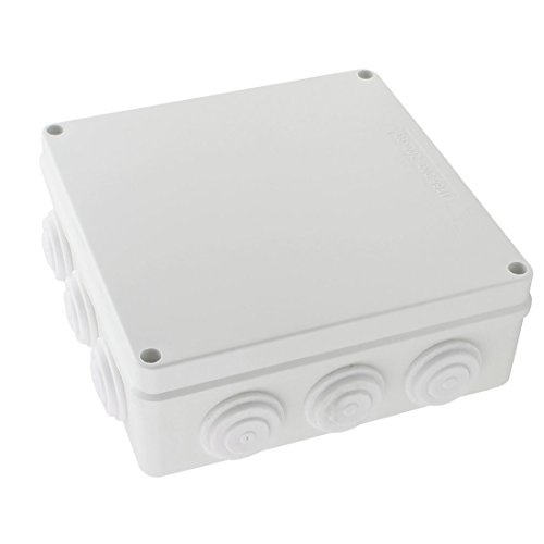 YXQ 200x200x80mm Square Junction Box w Holes ABS Electric Project Case Cover IP65 Waterproof Enclosure White(7.9'' x 7.9'' x 3.1'')