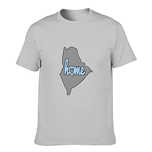 YCNJJB Camiseta de algodón para hombre Mapa de Maine Popular ajuste moderno -USA Pattern Shirt