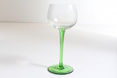 vintage13.de Schlichtes Weinglas Weinkelch grüner Fuß Jugendstil mundgeblasn Abriß Edel Antik