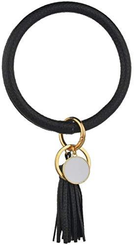 Frauen Armband Schlüsselbund Armband Armreif Schlüsselanhänger Armreif Leder O Schlüsselanhänger Schlüsselanhänger mit Quaste (A13 Schwarze)