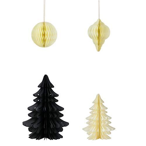 KL2 Weihnachts- Herbst und Winter Ornamente Dekoration 4 Stück Wabenbälle/Papierkugeln und Papier Weihnachtsbaum in Schwarz Creme/Dekoteller/Tischdekoration/Christbaumschmuck