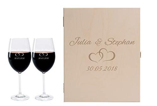 LEONARDO FORYOU24 2 Weingläser mit Geschenkbox und Gravur Paar Geschenkidee zur Hochzeit oder Verlobung Wein-Glas graviert