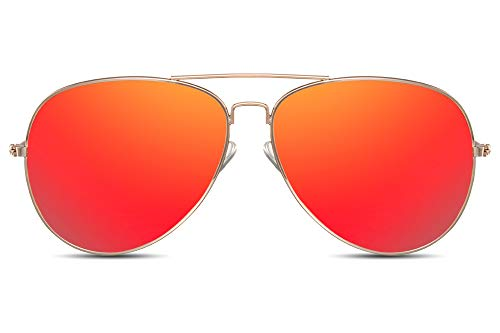 Cheapass Sonnenbrille Fliegerbrille Gold Rot Verspiegelt UV-400 Piloten-Brille Hochwertig Metall Damen Frauen