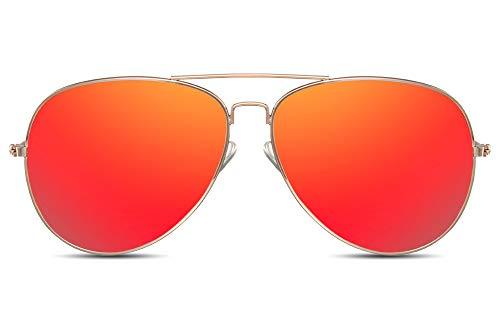 Cheapass Gafas de Sol Gafas Piloto Doradas Metálicas Cristales Rojos Espejados Hombre Mujer 100% Protección UV400