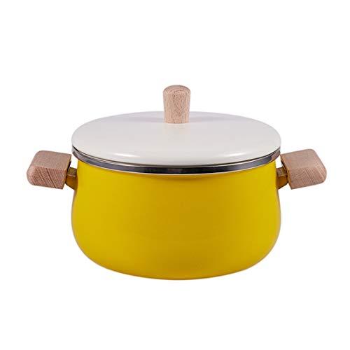 JMAHM Suppentöpfe, Emaille, antihaftbeschichtet, Topf für Milc, Tee, Kaffee, Eier, Kochtopf, Holzgriff, großes Fassungsvermögen, mit Deckel Gelber Suppentopf