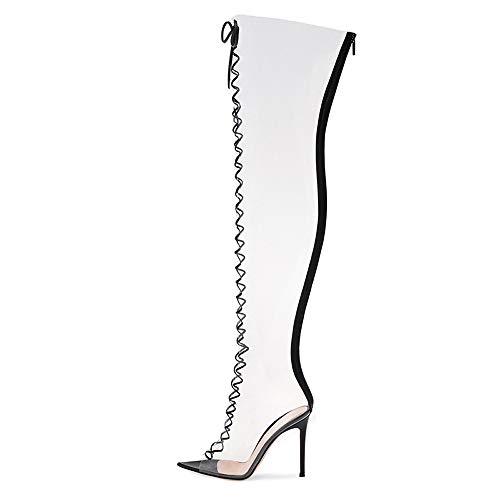 YZT QUEEN Damen Stiefel overknees, Lässige und modische transparente PVC-Schnürstiefel mit hohem elastischem Oberschenkel, Stiefel mit Spitzen Zehen und hohen Absätzen für Partybars,37EU