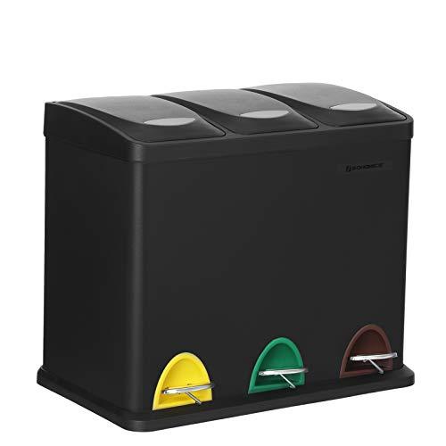 SONGMICS Mülleimer für die Küche, 3-in-1 Abfalleimer, 24 Liter, Mülltrennung, Treteimer aus Metall, Mülltrennsystem, robust, einfach zu reinigen, Stahl, schwarz LTB24BK