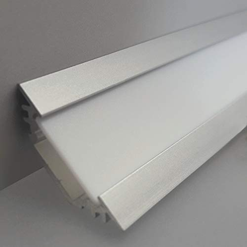 LEDsikon® LED Profil TRIO-T ALU 2m eloxiert + weisse Blende, Set für indirekte Beleuchtung/Eckprofil