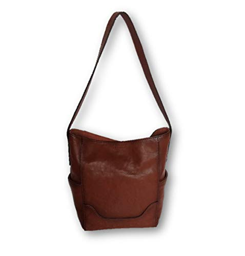 """Cognac antique tanned; handcrafted from soft full grain leather 9"""" Bottom / 12.5"""" Top W x 11.5"""" H x 5"""" D; handle drop 10.5"""" Magnetic Snap closure Lined inside with 3"""" wide soft leather suede at the top; dark brown fabric lining Interior zip, Interior..."""