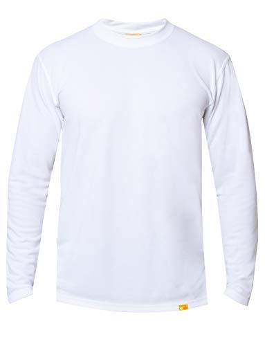 iQ-UV T-Shirt à Manches Longues pour Homme Protection Solaire 50+ Col Rond Coupe Droite T-Shirt à Manches Longues L Blanc