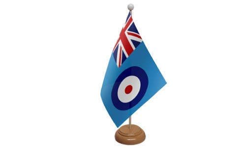 Flagmania® RAF F-Fahne Royal Air Force Militär Tischflagge mit Holzständer + 59 mm Button Badge