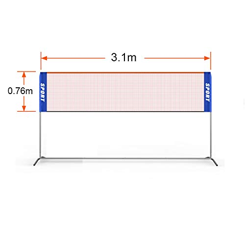 Badminton Net with Poles for Backyard. Portable, Assemblable, Detachable, Stainless Steel Badminton Stand with Carry Bag for Outdoor/Indoor Court, Backyard, Beach
