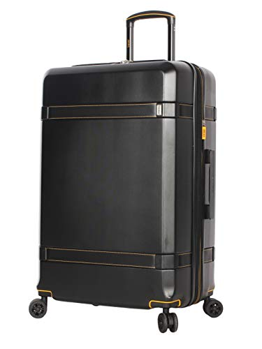 Lucas 28 Inch Checked Luggage Collection - Expandable Scratch Resistant (ABS + PC) Hardside Suitcase - Designer Lightweight Bag with 8-Rolling Spinner Wheels (Tivoli Black)