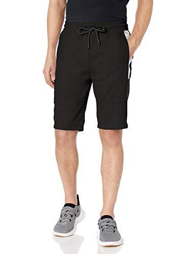 Southpole Men's Tech Fleece Shorts, Black Side Color Block, Large