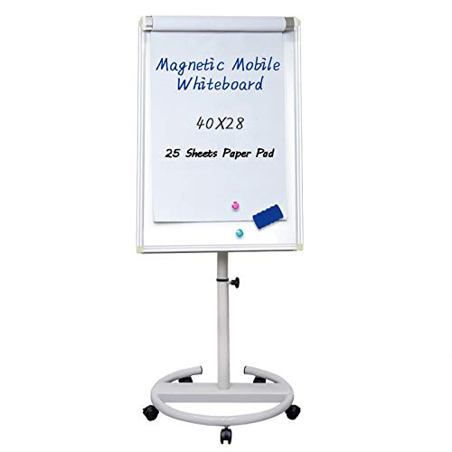 Mobile Dry Erase Board – 40x28 inches Magnetic Portable Whiteboard Stand Easel White Board Flipchart Easel Board with 25 Sheets Paper Pad