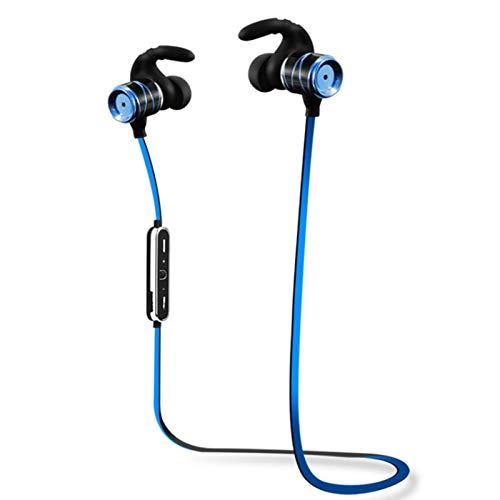 Wsaman Deportivos Auriculares,Auricular Bluetooth Inalámbrico Negocio con Micrófono Resistente al Agua Impermeables para Deportes Oficina en Casa Trabajo,Azul