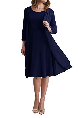 Brautmutterkleider Kurz Chiffon Abendkleider Knielang A-Linie Party Mutterkleid Party Festlich Kleider mit Bolero Navyblau EU38