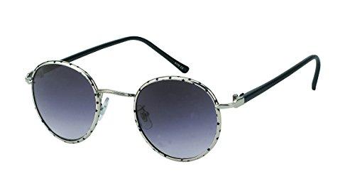 Chic-Net des Lunettes de Soleil Rondes Sun Glasses Cadre métallique Mince 400UV Motif flambage teinté rétro Argent
