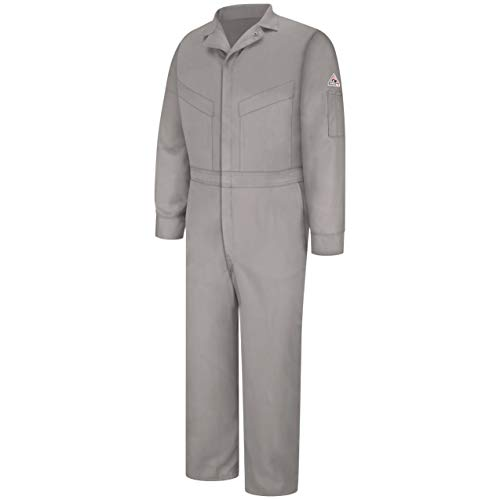 Bulwark Flame Resistant 6 oz Cotton/Nylon Excel FR ComforTouch Regular Deluxe Coverall with Concealed Snap On Cuff, Grey, Size 44