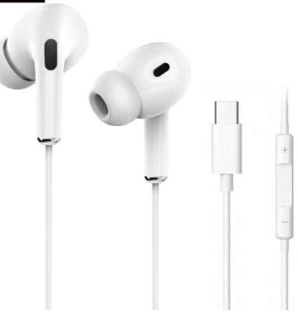 Auriculares con conector tipo C, con cable certificado MFi, auriculares estéreo de audio HiFi, con micrófono y control de volumen, compatible con iPhone 7/7Plus/8/8Plus/X/XSMax /11/11Pro, color blanco