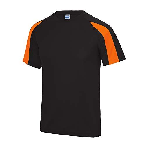 Just Cool - Camiseta Deportiva Transpirable tecnología Neoteric™ de Manga Corta para Hombre - Running/Gym/Deporte/Futbol (Extra Grande (XL)) (Negro/Naranja Eléctrico)