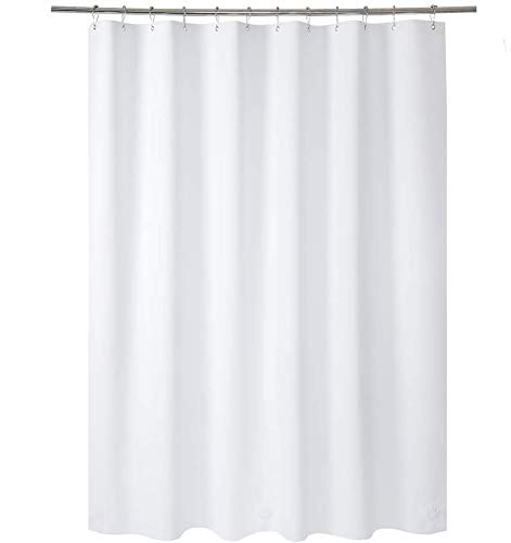 AmazerBath Plastic Shower Curtain, 70 x 72 Inches EVA 8G Shower Curtain with Heavy Duty Clear Stones and Grommet Holes, Waterproof Thick Bathroom Plastic Shower Curtains-White