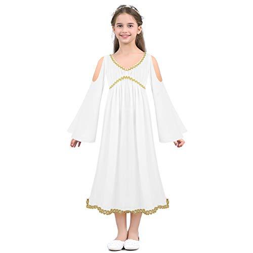 iiniim Disfraz de Diosa Griega Atenea Nia Vestido Blanco de Princesa Disfraz Infantil Romana Hombros Descubiertos Vestido Largo con Encaje Dorado de Fiesta Ceremonia Cosplay Blanco 12-14 Aos