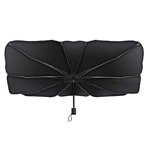 CJBIN Parasol para el parabrisas del coche, plegable, bloqueo de rayos UV, para la mayoría de los coches y SUV, color negro (125 x 65 cm)