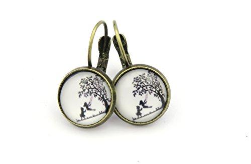 Kindheit Cabochon Ohrringe Ohrhänger bronzefarben 12mm Motiv Schaukel Modeschmuck