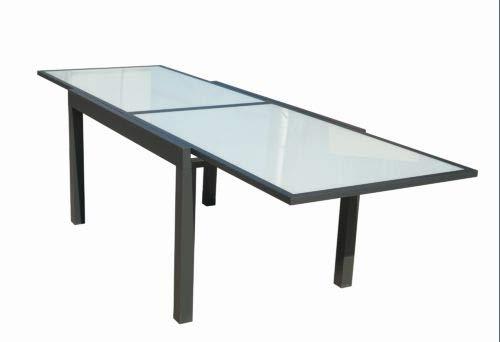 VDC Mesa Aluminio Cristal Extensible practic 135-270 x 90 cm