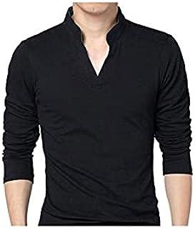 Fbnzmluqcx Long Sleeve Shirts T-Shirts,Men T-shirt Solid Color Long Sleeve V Neck Slim Pullover Top for Spring (Color : Bl...