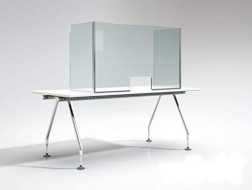 Douchecabine – douchebescherming – voor tentoonstellingen en kantoortafels – 6 mm gehard glas – personaliseerbare afmetingen. 110 x 70 x 45cm Transparant