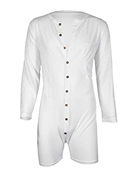GERINLY Men s Onesie Pajmas Bandage One Piece Bodysuit Sleep Romper Underwear Long Sleeve Work Out Singlet  White XL