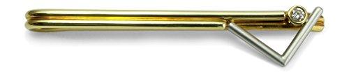 Herren Krawattenklammer 585 Gelbgold Weißgold bicolor 14 ct 4 Brillant 0,090 ct M01-A0024