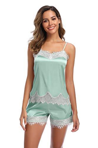 SHEKINI Damen Satin Zweiteiliger Schlafanzug mit Spitze Kurz Träger Nachthemd Klassische Nachtwäsche Pyjama Shorts mit Gummibund am(Stil 2 Pyjamas Set-Grün,S)