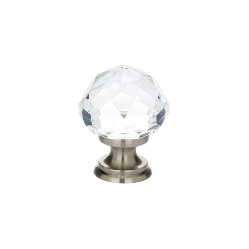 Emtek 86012 Diamond 1-1/4 Inch Diameter Round Cabinet Knob from the Crystal And, Satin Nickel