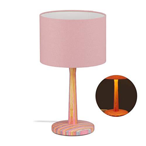 Relaxdays tafellamp kinderen, gestreepte houten voet, stoffen kap, E 14, meisjes, bedlampje, H x D: 42,5 x 24 cm, kleurrijk