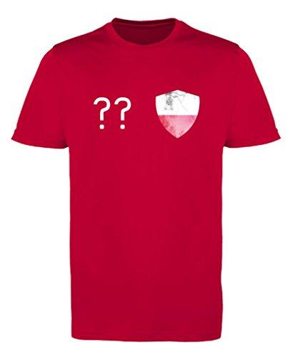 Comedy Shirts - Polen Trikot - Wappen: Klein - Wunsch - Jungen Trikot - Rot/Weiss Gr. 134-146