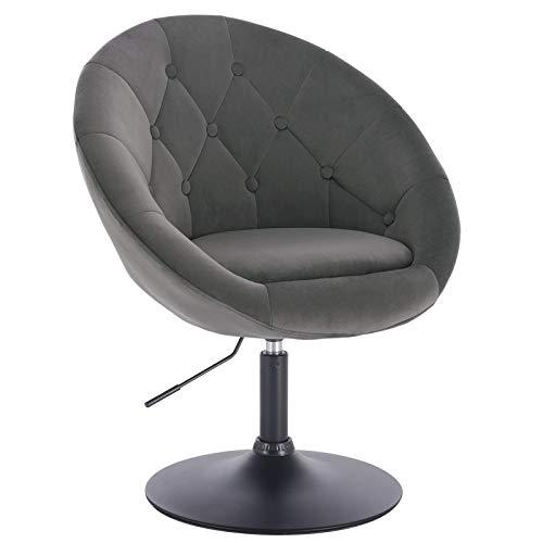 WOLTU® BH222dgr-1 1 x Barsessel Loungesessel mit Armlehne, stufenlose Höhenverstellung, Samt, Dunkelgrau