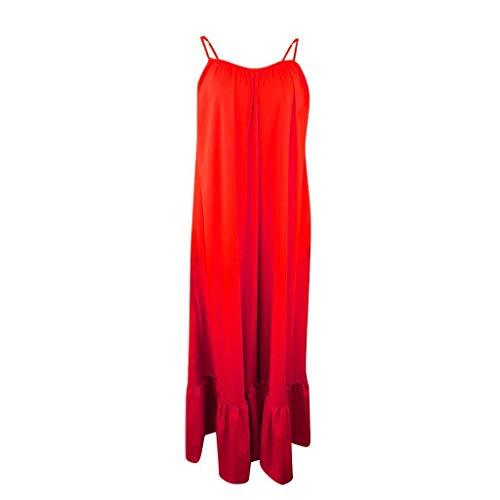 Julhold Vestido de mujer de moda sólido con cordones suelto, espalda abierta, vestido de playa, naranja, Small