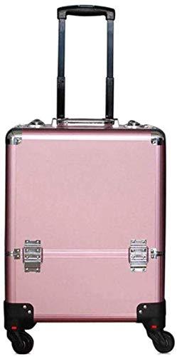 ALYR Professionnel Valise Trolley Maquillage, Valise à Cosmétiques Mallette à Maquillage Organisateur Maquillage Bagages Valise de Maquillage à roulettes,Pink