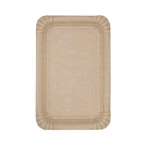 ECOCLEO Eco Platos desechables | Bandeja Rectangular 13x20 | Juego de Platos rectangulares de 100 piezas | Color kraft | Estable | Carton para alimentos | Biodegradable y reciclable