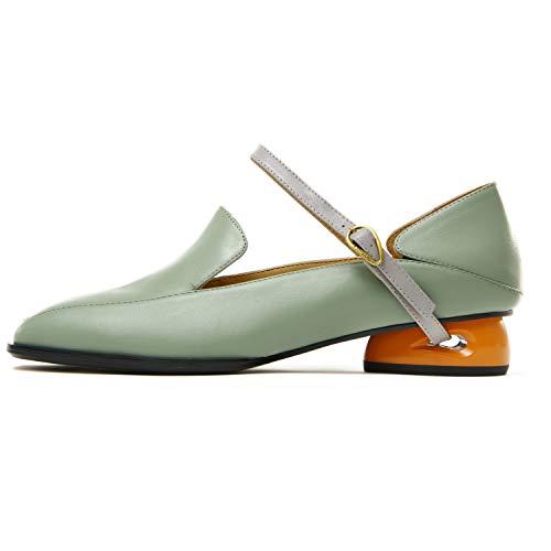 AJOY SAHU Alicia Low Block Heels Slipper On Leder Damen Damen Schuhe für Arbeit Casual Pump Comfy Fashion Stylish, Grün - Pastellgrün/Senf - Größe: 39 EU