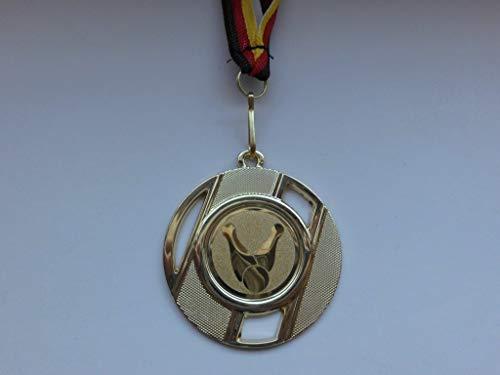 10 x Medaillen aus Metall 50mm - mit Einem Emblem Kegeln - Kegler - Logo - inkl. Medaillen Band - Farbe: Gold - (e257) -