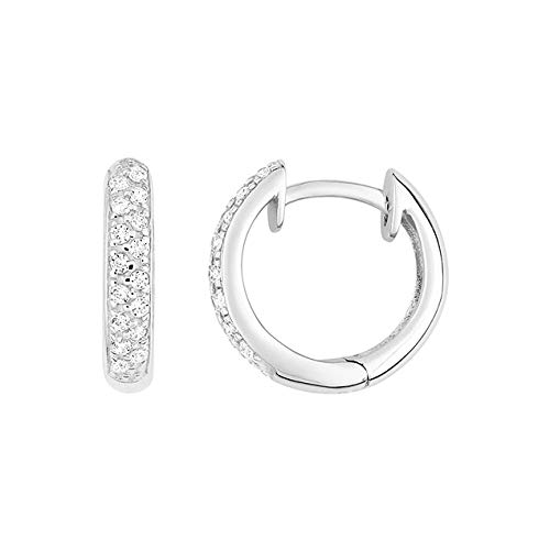 Lucky One Bijoux - Pendientes de aro con diamante de oro blanco de 18 quilates