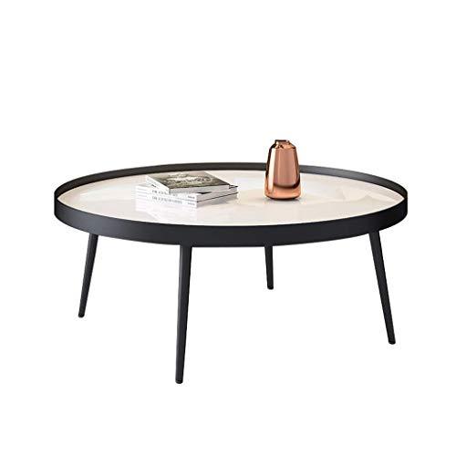 Bijzettafel ronde zijkant salontafel/lage tafel, ondersteuning met vier poten, gehard glas tafelblad, hoogwaardige, minimalistisch, ontworpen voor thuis of woonkamer, wit