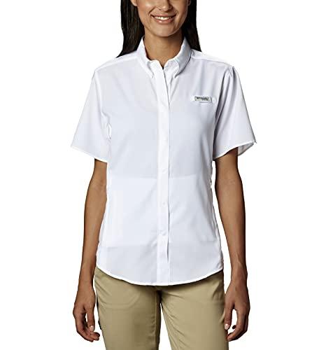 Columbia Women's Standard PFG Tamiami II UPF 40 Short Sleeve Fishing Shirt, White, Medium