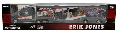 Erik Jones #20 Daytona 400 Win Paint Scheme 1/64 1:64 Scale Diecast Hauler Trailer Truck Tractor Semi Rig Transporter Metal Cab/Tractor, Plastic Trailer