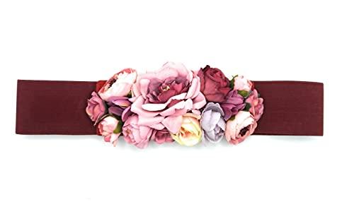 BRANDELIA Cinturones de flores con cinta elástica de mujer para vestidos de fiesta, pantalones o faldas. Cinta burdeos con flores